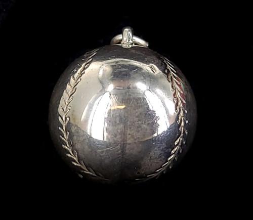 Vintage Mid Century JMF Sterling Silver Large Baseball Softball Charm Pendant