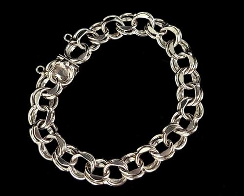 "Vintage Mid Century Sterling Silver Open Chain Multi Link Bracelet 7.5"""