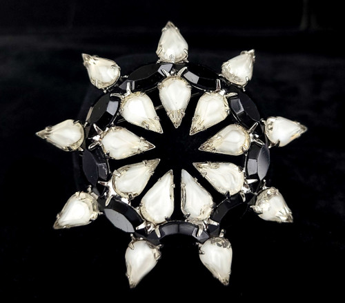 "Vintage Art Deco Silver Clear Black Paste Rhinestone Sunburst Floral Brooch Pin 3"""