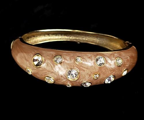 Vintage Gold Tone Blush Pink Enamel Clear Rhinestone Clamper Bangle Bracelet 6.5