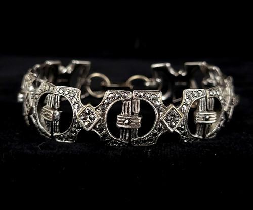 "Antique Art Deco Sterling Silver Marcasite Open Work Link Bracelet 7.5"""