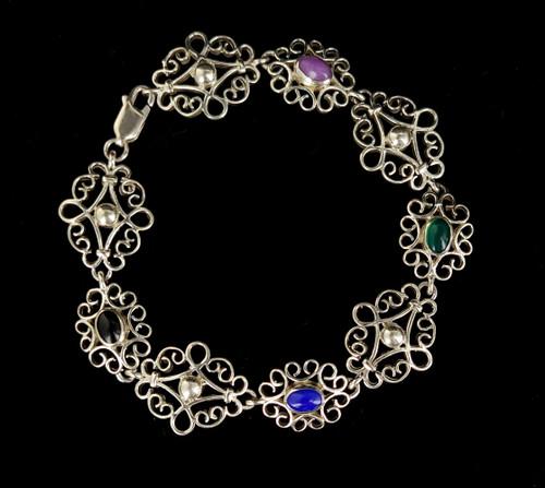 "Vintage Sterling Silver Filigree Multi Color Chalcedony Onyx Bracelet 7.5"""
