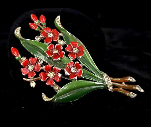 Vintage Trifari Alfred Philippe 1940s Enamel Bouquet Dress Fur Pin Pin Brooch