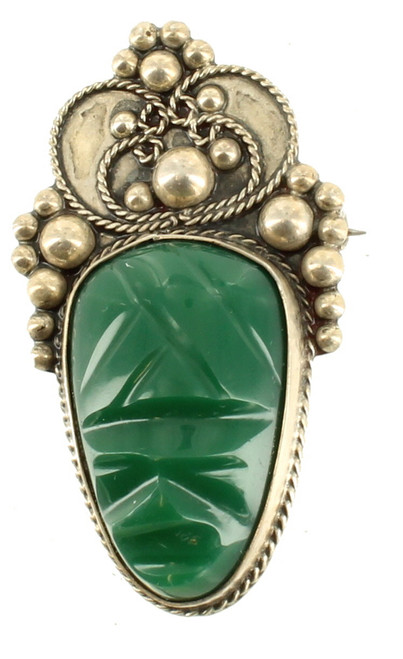 """Vintage Mid Century Modern Sterling Mexico Green Agate Face Pin Balls Design 2 """""""