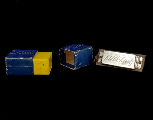 "Antique ""Little Lady"" Hohner Harmonica Germany Original Box Charm Pendant Works!"