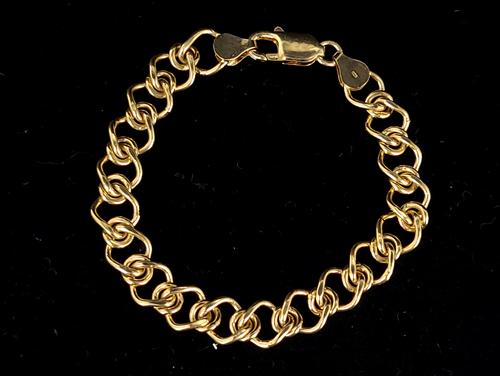 """Vintage 14k Gold Over Sterling 925 Italian Link Chain Bracelet 7"""""""