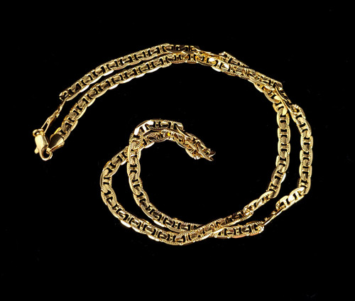 """Vintage 14k Gold Plated Italian Flat Link Unique Chain Necklace 24"""""""
