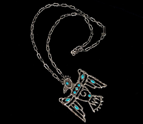 Vintage St Labre Indian School MT Native American Thunderbird Turquoise Necklace