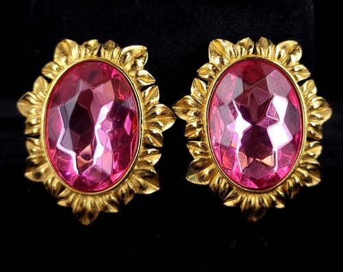 "Vintage Trifari Kunio Matsumoto Gold Tone Pink Rhinestone Statement Earrings 1.5"""