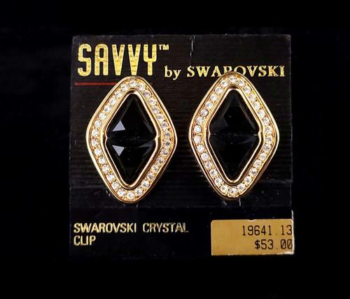 "Vintage Savvy Gold Tone Swarovski Crystal Glass Rhinestone NWT Earrings 1.5"""