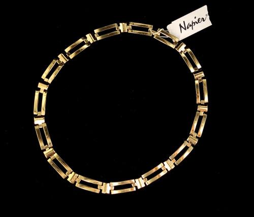 "Vintage Gold Tone Napier Geometric Link NWT Choker Necklace 18"""