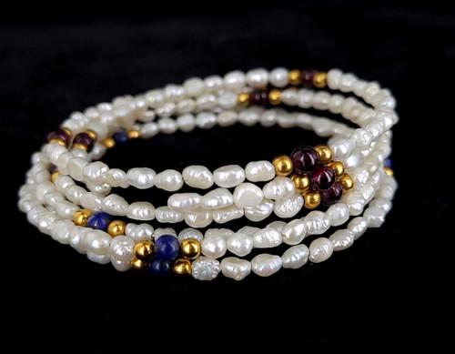 Vintage 14k Gold Seed Pearl Garnet Lapis Beaded Bracelet set Fits all Wrists
