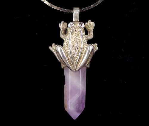 """Vintage Sterling Silver Rose Quartz Crystal Point Frog Pendant Necklace 19"""""""
