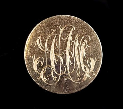 "Vintage Mid Century Gold Filled GF Round Monogram AAM Brooch Pin 1.25"""