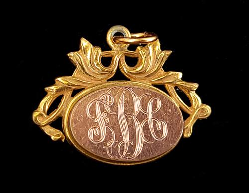 Antique 12k Gold Filled GF Victorian Floral Etched Oval Monogram Pendant Fob