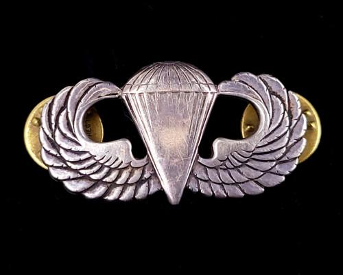Vintage Sterling WWII US Air Force Parachute Paratrooper Jump Wings Pin Brooch
