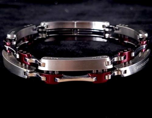 "intage Chimento Italy Stainless Titanium Maroon Industrial Unisex Bracelet 8"""