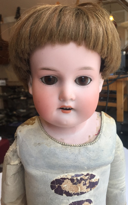 "Antique 22"" Armand Marseille Bisque Head Chest Kid Limbs-370 Boy Doll Sleep Eyes"