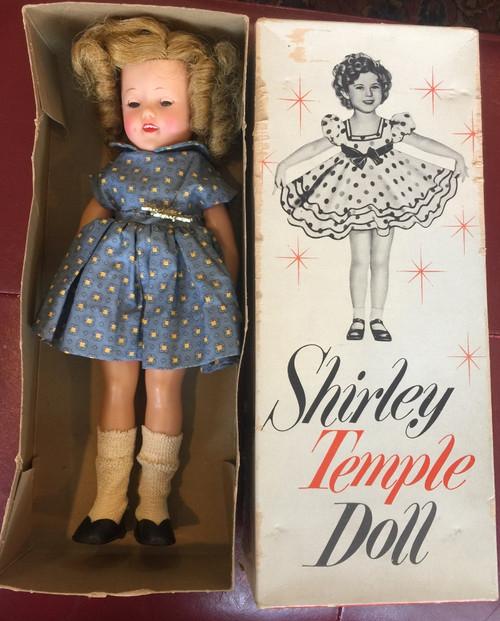 "Vintage 1950s Shirley Temple Doll Ideal 9500 Original Box 12"" ST-12 Blue Dress"