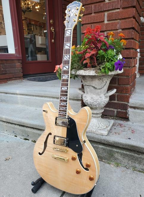 2017 Washburn HB35 Natural Semi-Hollow Body Guitar with Original Hard Case