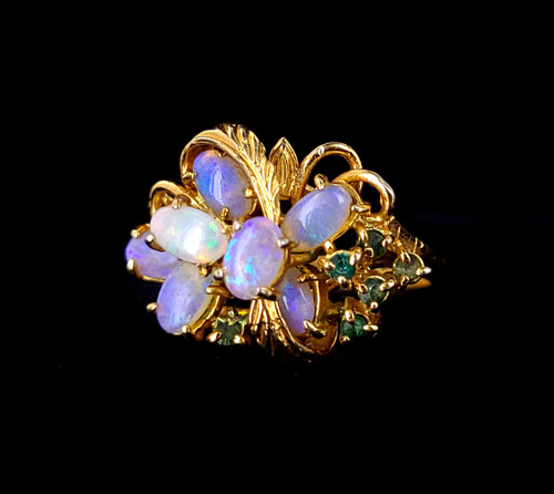 Vintage 18k Gold Plated Genuine Australian Opal Mid Century 1950s Ring s 7