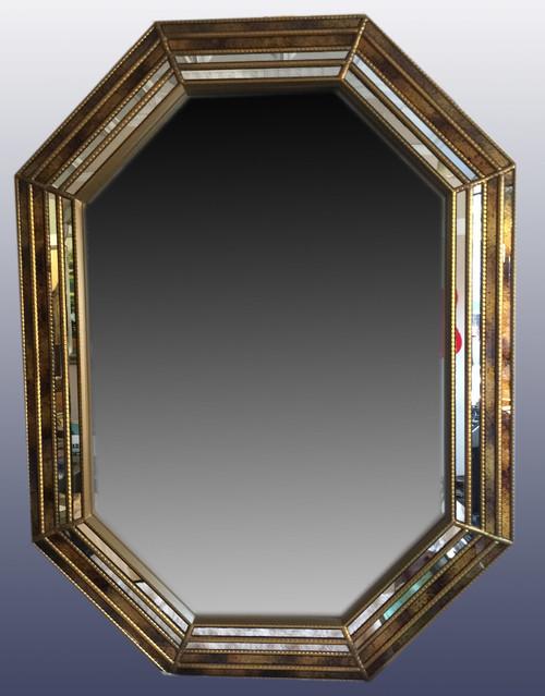 "Vintage Hollywood Regency Eglomise Strip Design Modern Wall Mirror Octagonal 39"""