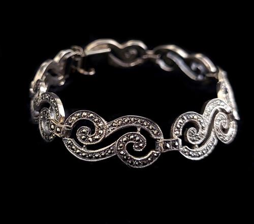 "Antique Art Deco Sterling Silver Marcasite Open Work Bracelet w Safety Chain 7"""