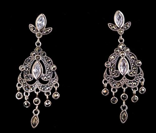 "Vintage Sterling Silver Rock Quartz Marcasite Drop Dangle Post Back Earrings 1.80"""