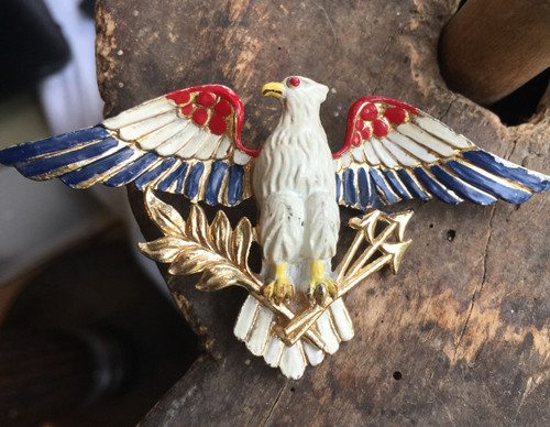 """Vintage WWII Coro 3.75"""" Patriotic Figural  Enamel Eagle USA1940's Pin Brooch BIG"""