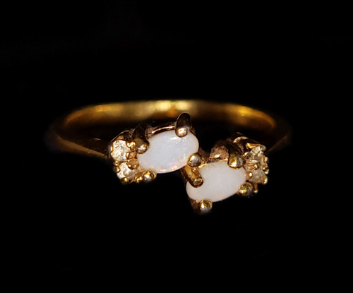 Vintage Mid century Gold Over Silver Australian Opal Clear Paste Ring sz 8.5