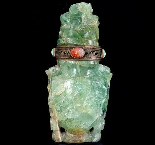 """Antique Qing Dynasty Carved Jadeite Fluorite Floral Censor Lamp Sculpture 9.25""""H"""
