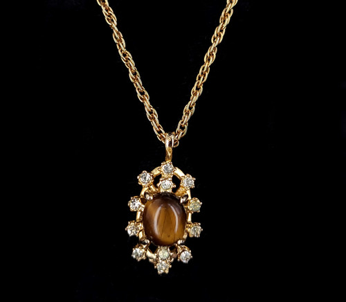 """Vintage Mid Century Gold Plated Oval Tigers Eye and Rhinestone Necklace 18"""""""