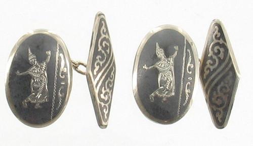 Unusual Antique Deco Sterling Silver 1930'S Siam Niello Ware Cufflinks Nice Size