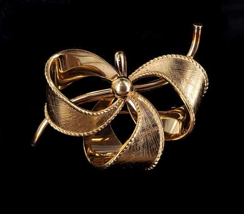"Vintage Art Deco 12k Gold Filled GF Ribbon Bow Watch Fob Holder Brooch Pin 1.75"""