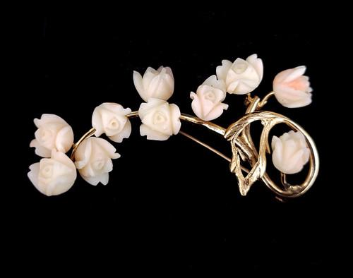 "Vintage 14k Gold Angel Skin Pink Coral Cascading Tulips Leaves Brooch Pin 2.5"""