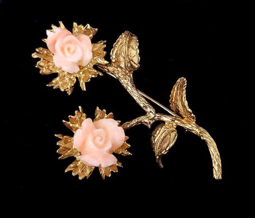 "Vintage 14k Gold Angel Skin Pink Coral Flowers Leaves on Branch Brooch Pin 2"""