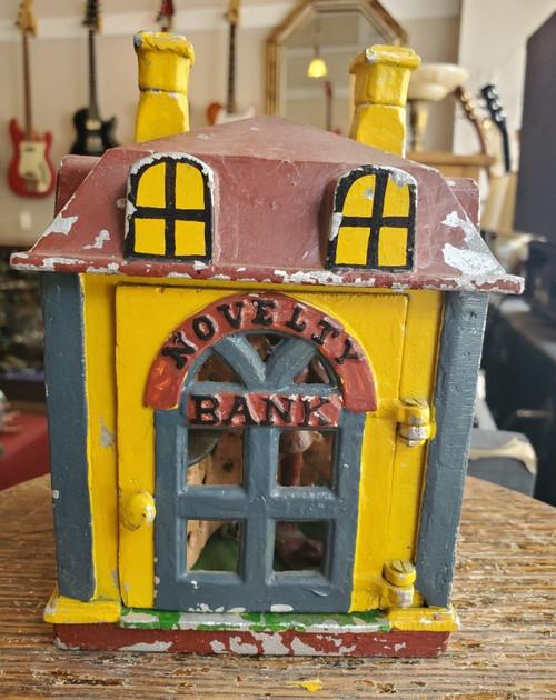 Vintage Cast Iron Mechanical Novelty Bank Building w. Teller Reproduction- Works