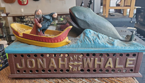 Vintage Jonah and the Whale Cast Iron Coin Bank Book of Knowledge 1950s Working