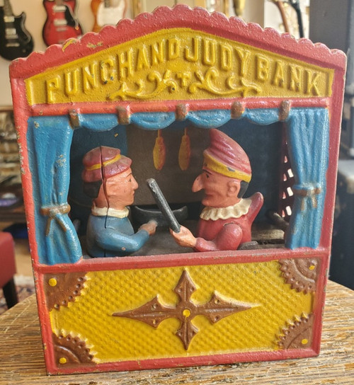 Vintage Punch and Judy Cast Iron Book of Knowledge 1960s WORKS w Stopper