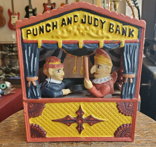 Vintage Punch and Judy Cast Iron Coin Bank Made in China Upper Deck LTD