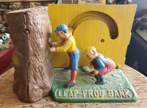 Vintage Leap-Frog Cast Iron Coin Bank Book of Knowledge Works w Stopper