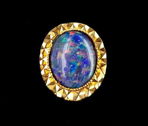 Vintage Yellow Gold Plated Black Opal Doublet Stunning Tie Tack Pin
