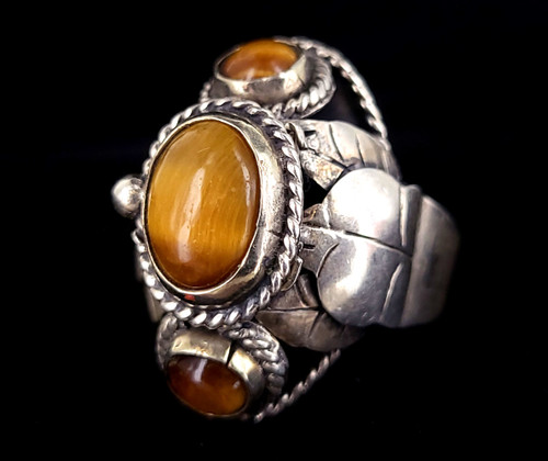 Vintage Sterling Silver Taxco Mexico Tigers Eye Handmade Poison Ring Adjustable