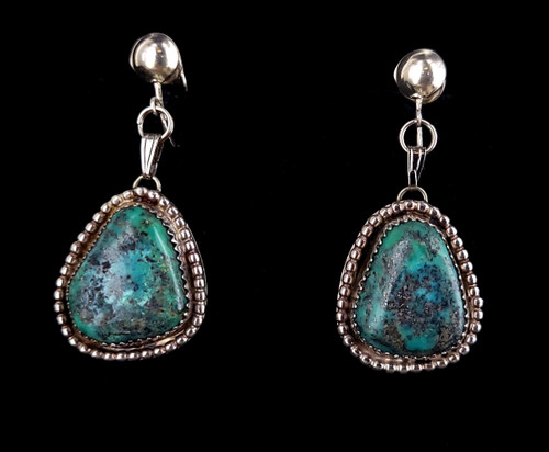 Vintage Mid Century Sterling Silver Navajo Royston Turquoise Statement Earrings