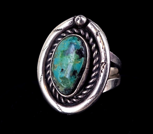 Vintage Sterling Silver Navajo Old Pawn Carico Lake Turquoise Statement Ring s 8
