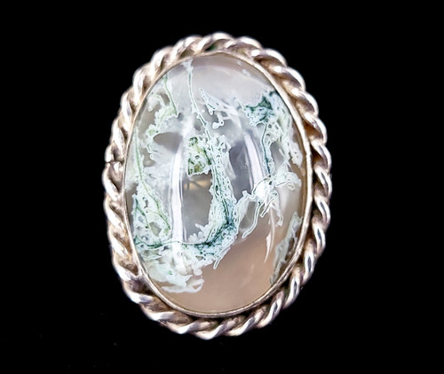 Vintage Sterling Silver Navajo Stunning Moss Agate Statement Ring Adjustable
