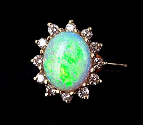 Vintage 14k Gold Genuine Australian Opal Diamonds Mid Century Halo Ring sz 10