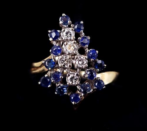 Vintage 14k Gold Diamonds Blue Sapphires Mid Century Cluster Ring sz 11