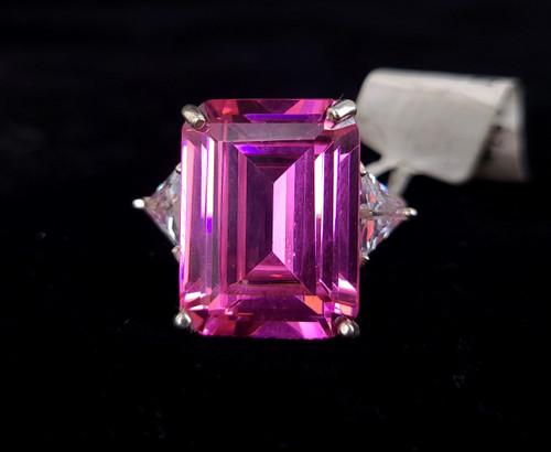 Vintage 999 Fine Silver Bubblegum Pink CZ Cubic Zirconia Diamond Cocktail Ring 8