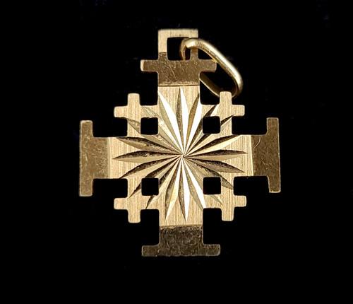 "Vintage Mid Century 14k Yellow Gold Jerusalem Cross Dainty Pendant 1.25"""